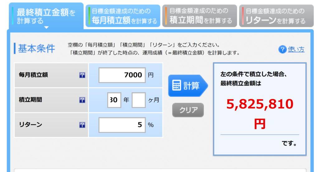 楽天シュミレーション月7千円30年間